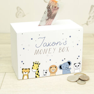 Personalised Cute Animals Wooden Money Box