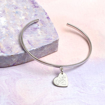 Girl's Personalised Sterling Silver Christening Bangle