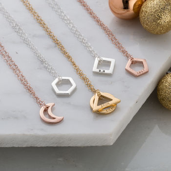 Personalised Mini Geometric Necklace By Posh Totty Designs