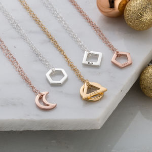Personalised Mini Geometric Necklace - geometric shapes