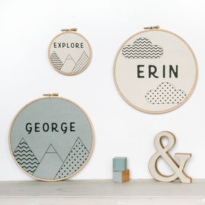 Personalised Geometric Name Hoop - children's room