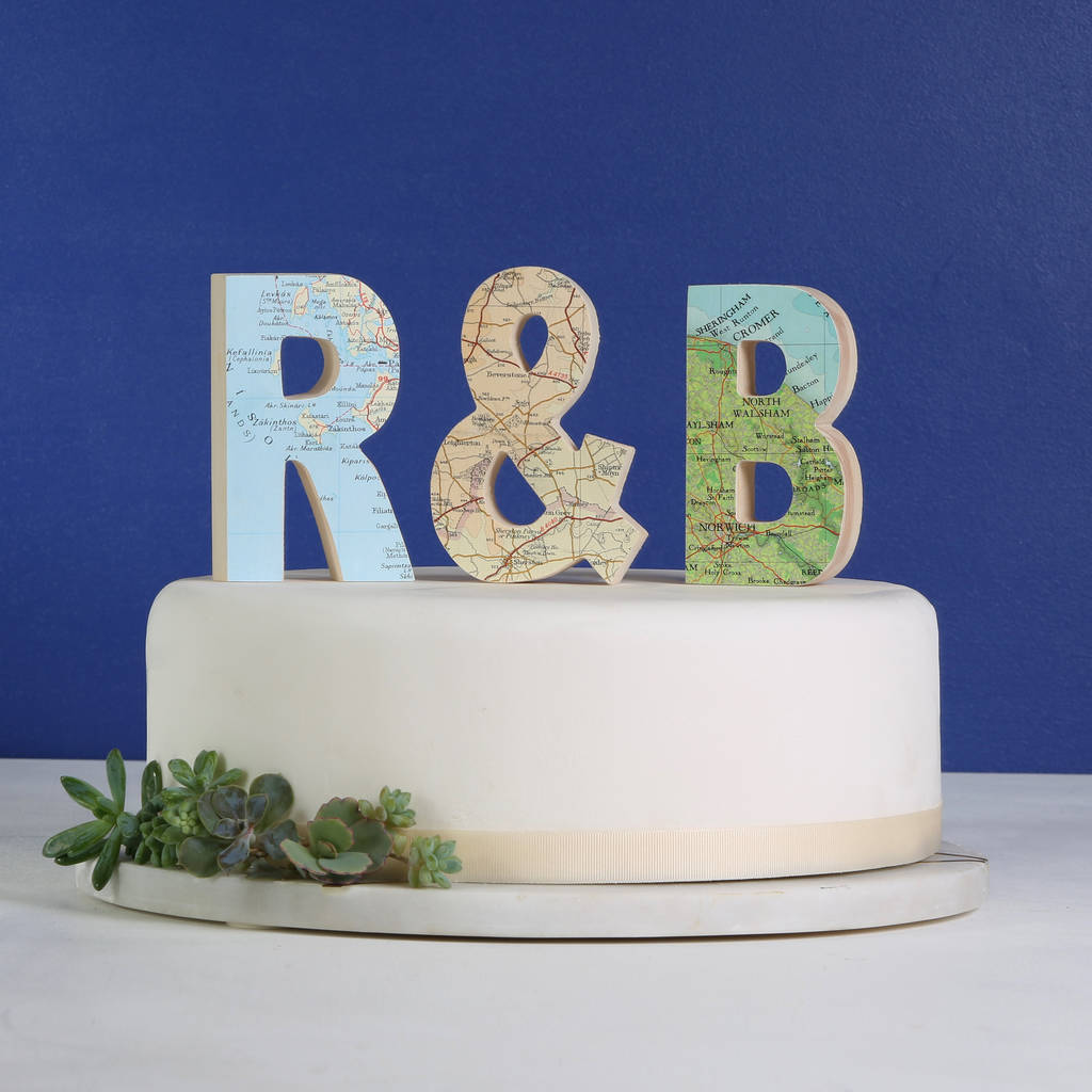 Personalised Map Letters Wedding Cake Topper