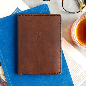 Personalised Hand Stitched Leather Passport Wallet