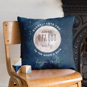 Love You Across The Miles To The Moon And Back Cushion - valentine's gifts for him