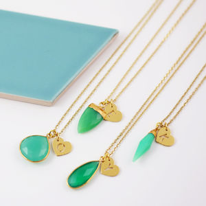 Green And Gold Gemstone Necklace Collection - gifts for mothers