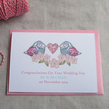 Personalised Bird And Blossom Wedding Card