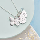 Personalised Silver Butterfly Charm Necklace - Aquamarine Birthstone