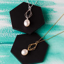 Geometric Diamond Pearl Necklace