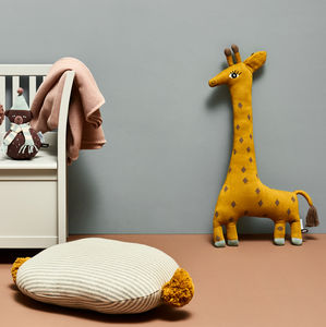 Noah The Giraffe Hand Knitted Cushion - bedroom