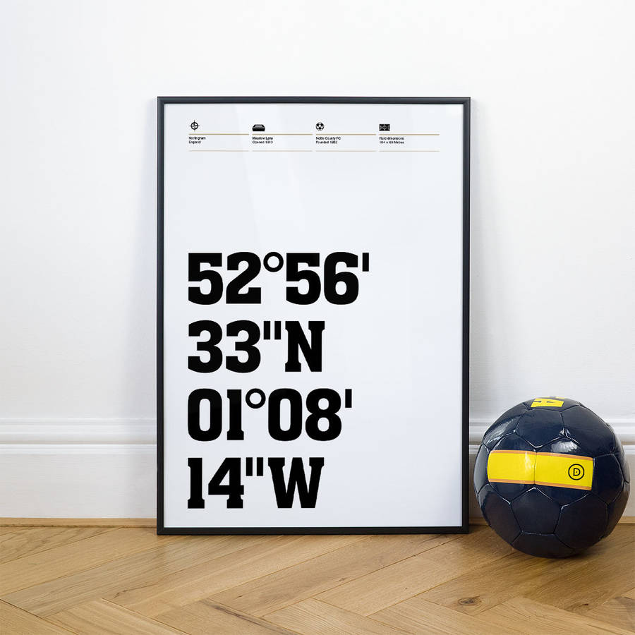 Notts County Football Stadium Coordinates Posters