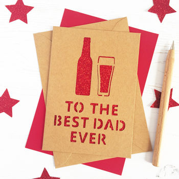 Kraft personalised beer card with red glitter
