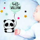 Personalised Baby Fleece Blanket Any Name Panda Design