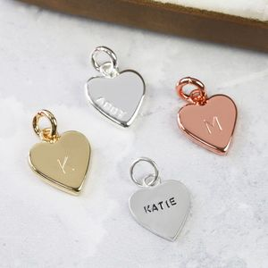 Personalised Hand Stamped Small Heart Charm - winter sale
