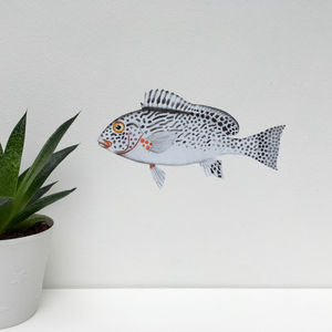 Monochrome Fish Fabric Wall Sticker - decorative accessories