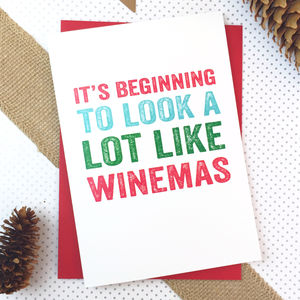 It's Beginning To Look Like Winemas Christmas Card