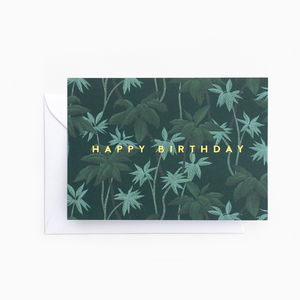 Tropical Foliage Leaf 'Happy Birthday' Card