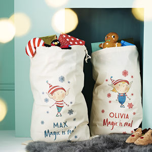 Personalised Elf Magic Is Real Santa Sack