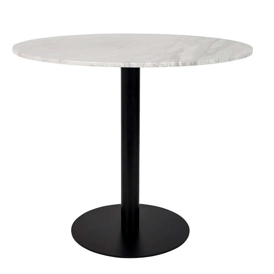 Marble Top Round Dining Table With Copper Leg