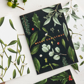 Black Greenery 'Merry Christmas' Card, Copper Foil