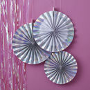 White Iridescent Foiled Pinwheel Hanging Decorations