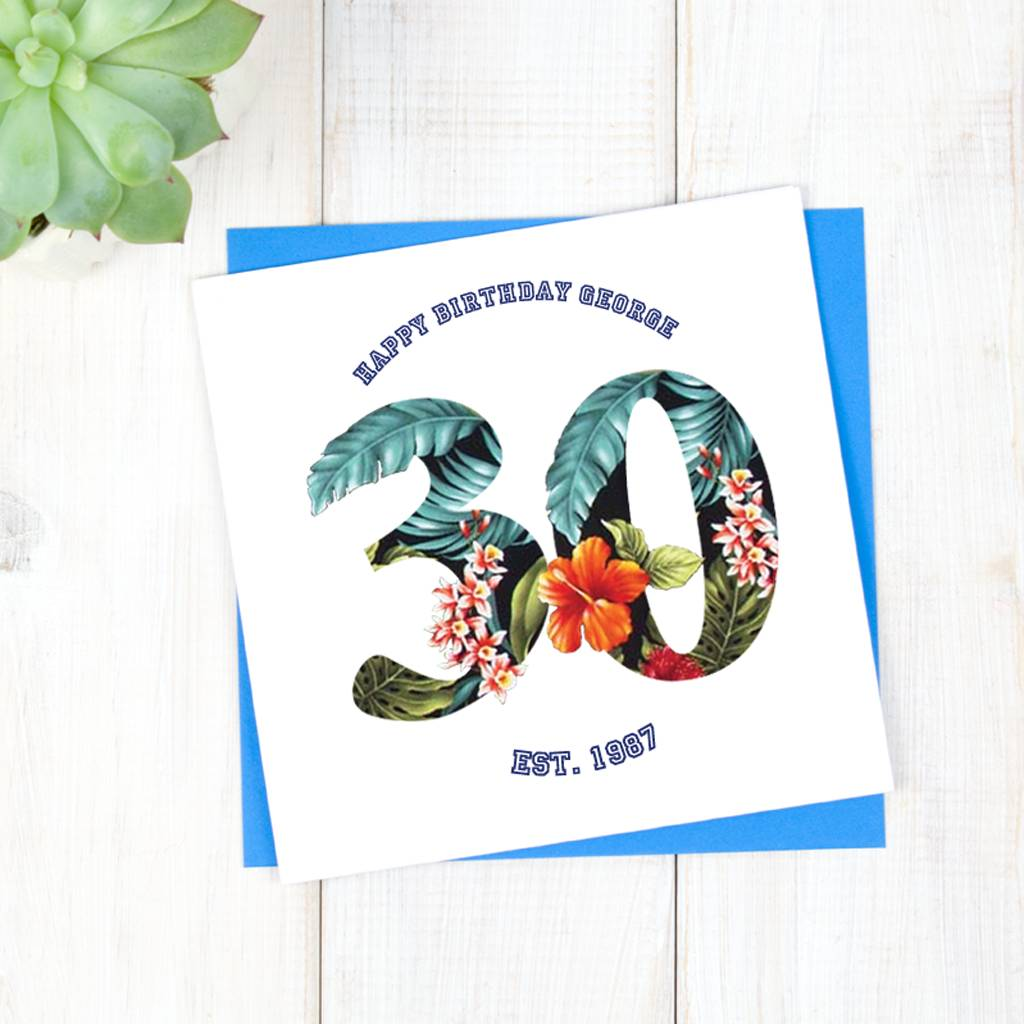 Personalised Hawaiian 30th Birthday Card For Him