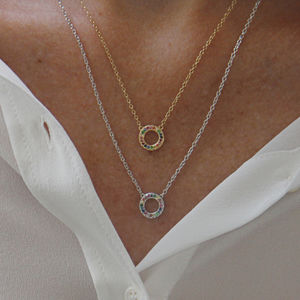 Gold Or Silver Rainbow Eternity Necklace - gold
