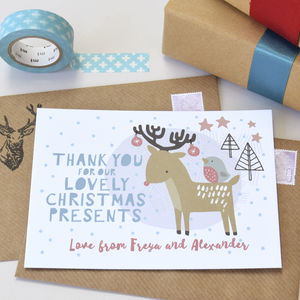 12 Personalised Christmas Reindeer Thank You Cards - thank you cards