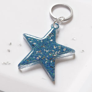 Hair Or Ashes Star Glitter Resin Keyring