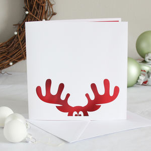 Reindeer Papercut Christmas Card - christmas cards