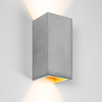 Handmade Rectangular Concrete Lampshade Light Grey