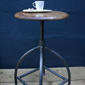 Vintage Style Swivel Stool With Wooden Seat