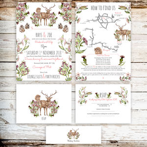 Autumn Wedding Stationery With Winter Stag And Thistle - invitations