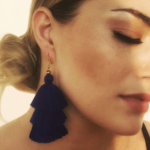 Tassel Earrings In Midnight
