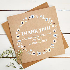 Thank You Reading Wedding Day Card - thank you cards