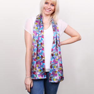 Blossoms Long Silk Scarf