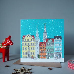 Copenhagen Skyline Christmas Card - cards