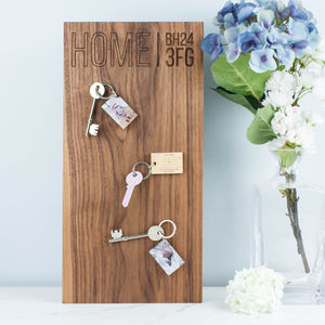 Personalised Magnetic Wood Key Holder Rack - hooks, pegs & clips