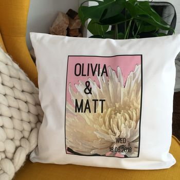 Personalised Wedding Date Cushion Cover