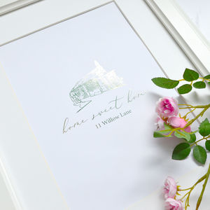 Our Home Sketch, Personalised Foil Print