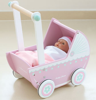 Retro Pink Wooden Role Play Dolls Pram