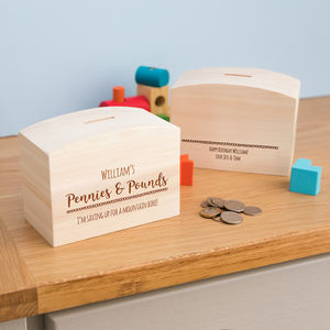 Personalised Pennies And Pounds Money Box With Message