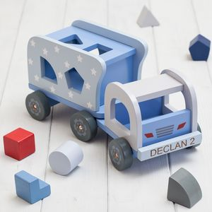 Personalised Blue Stars Shape Sorter Truck - more