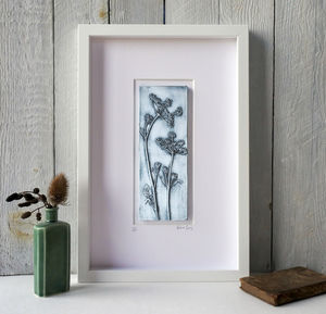 Framed Blue Cow Parsley Plaster Cast Tile - shop by subject