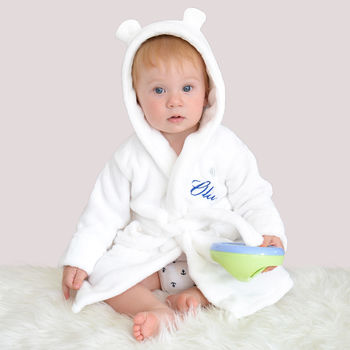 Personalised hooded baby robe white