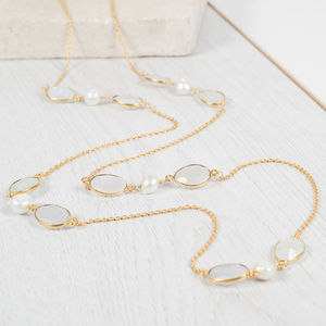 Moonstone, Pearl And Gold Vermeil Necklace