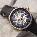 Heritor Automatic Desmond Skeleton Leather Band Watch