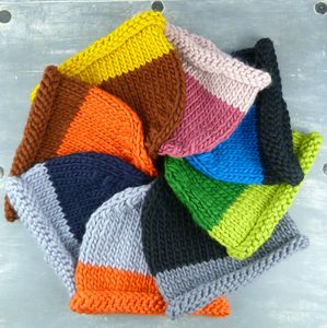 Hand Knitted Merino Wool Colour Block Beanie