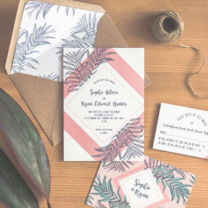 Tropical Leaf Wedding Invitation / Peach - invitations
