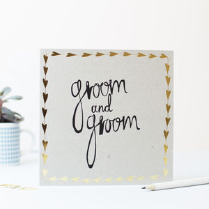 Groom And Groom Gold Hearts Card - wedding cards
