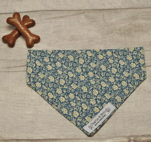 Blue Floral Dog Bandana For Girl And Boy Dogs